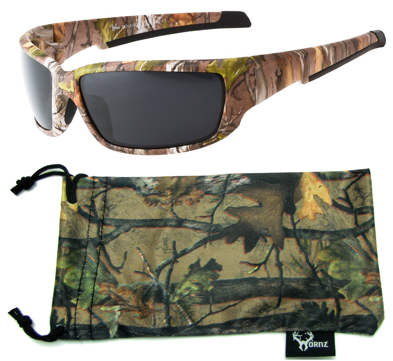 Hornz Brown Forest Camouflage Polarized Sunglasses for Men Full Frame Strong Arms & Free Matching Microfiber Pouch - Brown Camo Frame - Smoke Lens