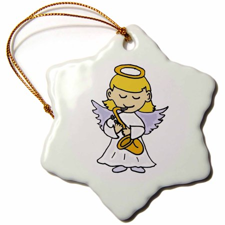 3dRose Funny Cute Angel Playing the Saxophone Christmas Art - Snowflake Ornament, 3-inch](Cute Snowflakes)