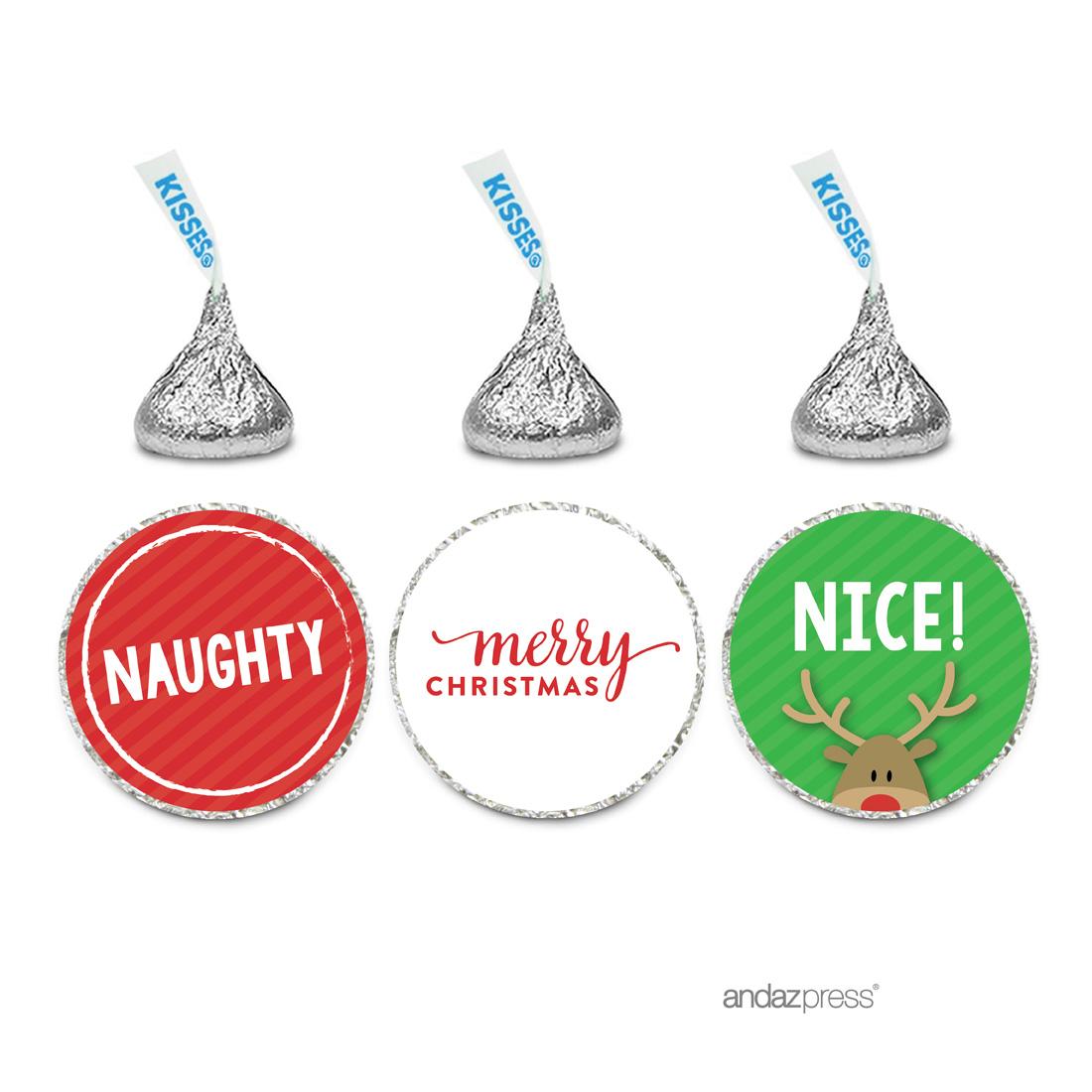Naughty Nice  Christmas Hershey´s Kisses Favor Labels, 216-Pack
