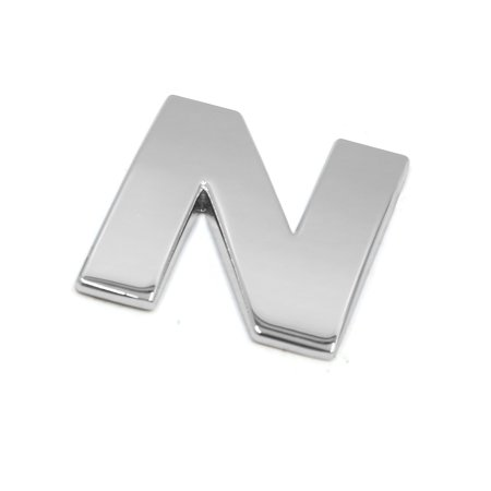 Silver Tone Metal N Letter Shaped Car Auto Exterior Emblem 3D Sticker Decor (N Tone)