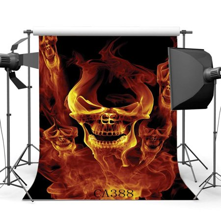 ABPHOTO Polyester 5x7ft Photography Backgrounds Halloween Horror Night Halloween Fire Specter Skulls Seamless Children Adults Masquerade Photo Backdrop Studio Props - Specter Studios