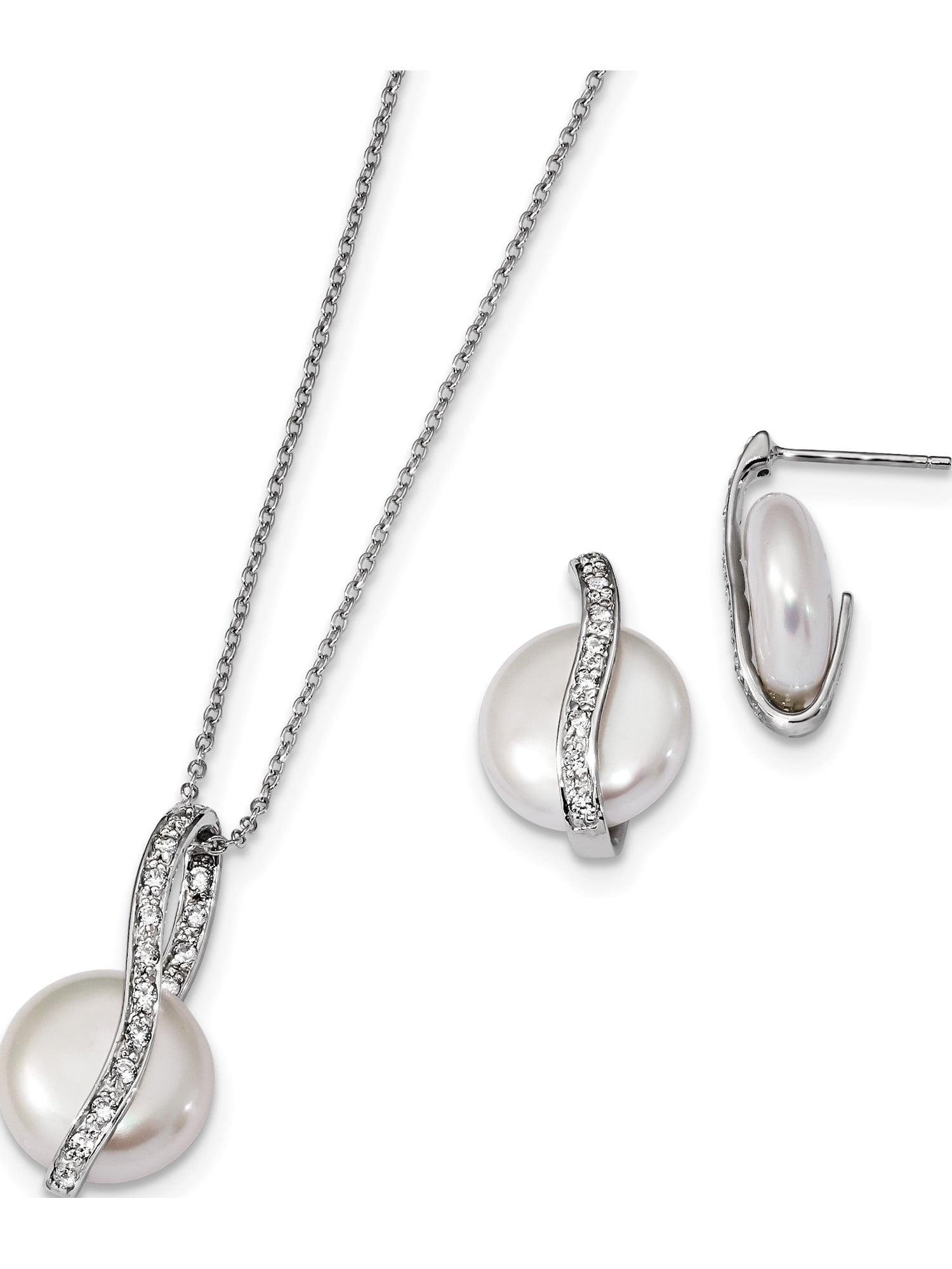 Sterling Silver RH 13-14mm White Button FWC Pearl Post Earrings