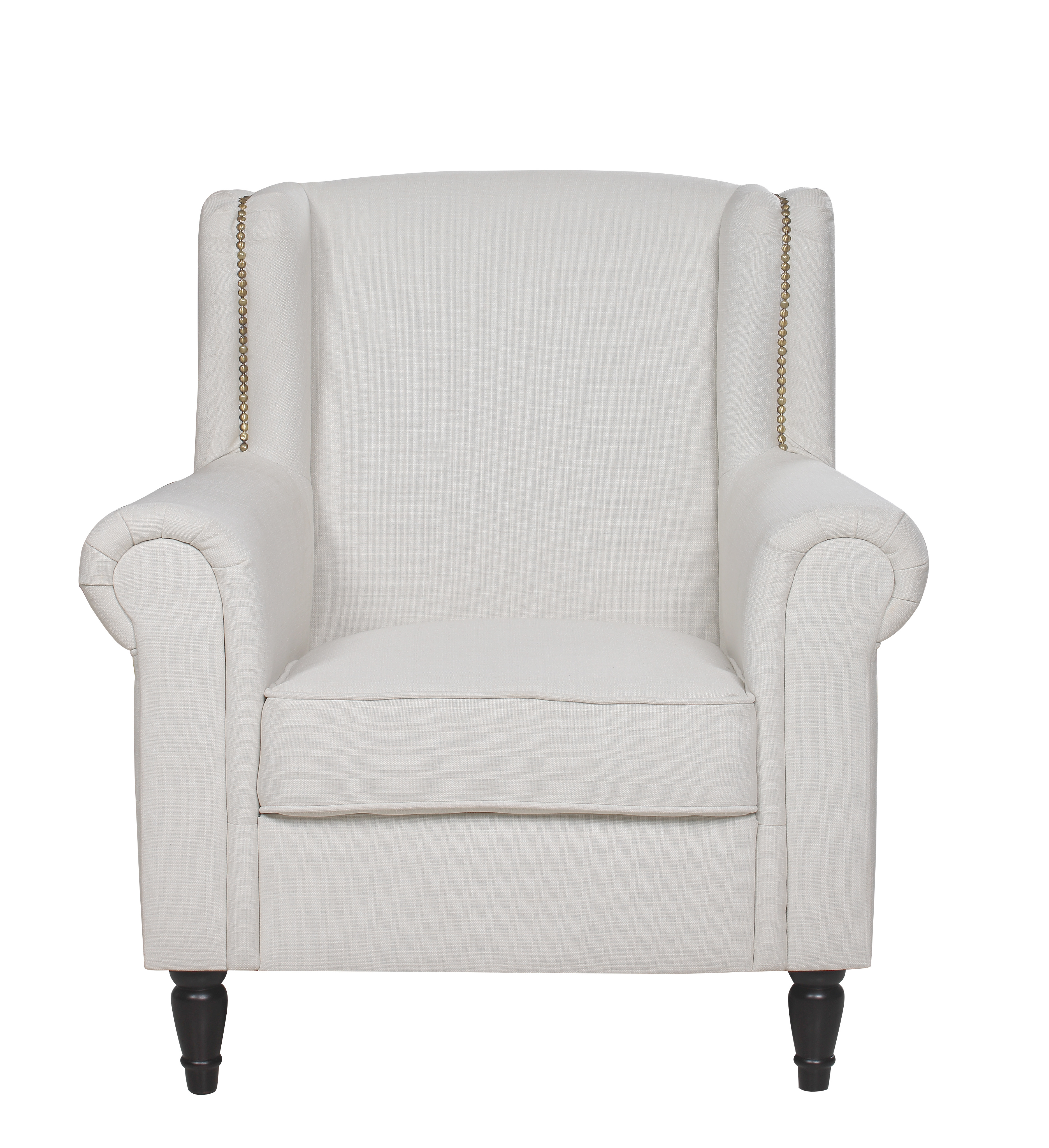 Classic Style Ivory Linen Armchair With Scroll Arms by Sofamania