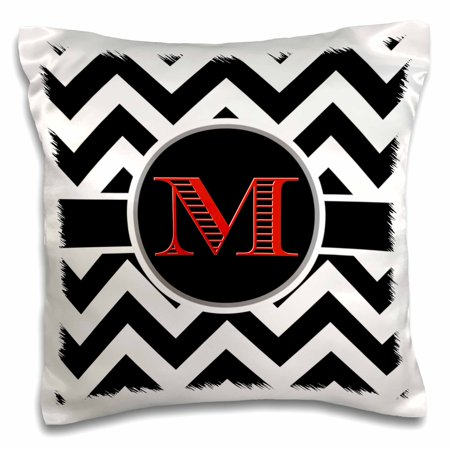 3dRose Black and white chevron monogram red initial M - Pillow Case, 16 by 16-inch - Red And White Chevron
