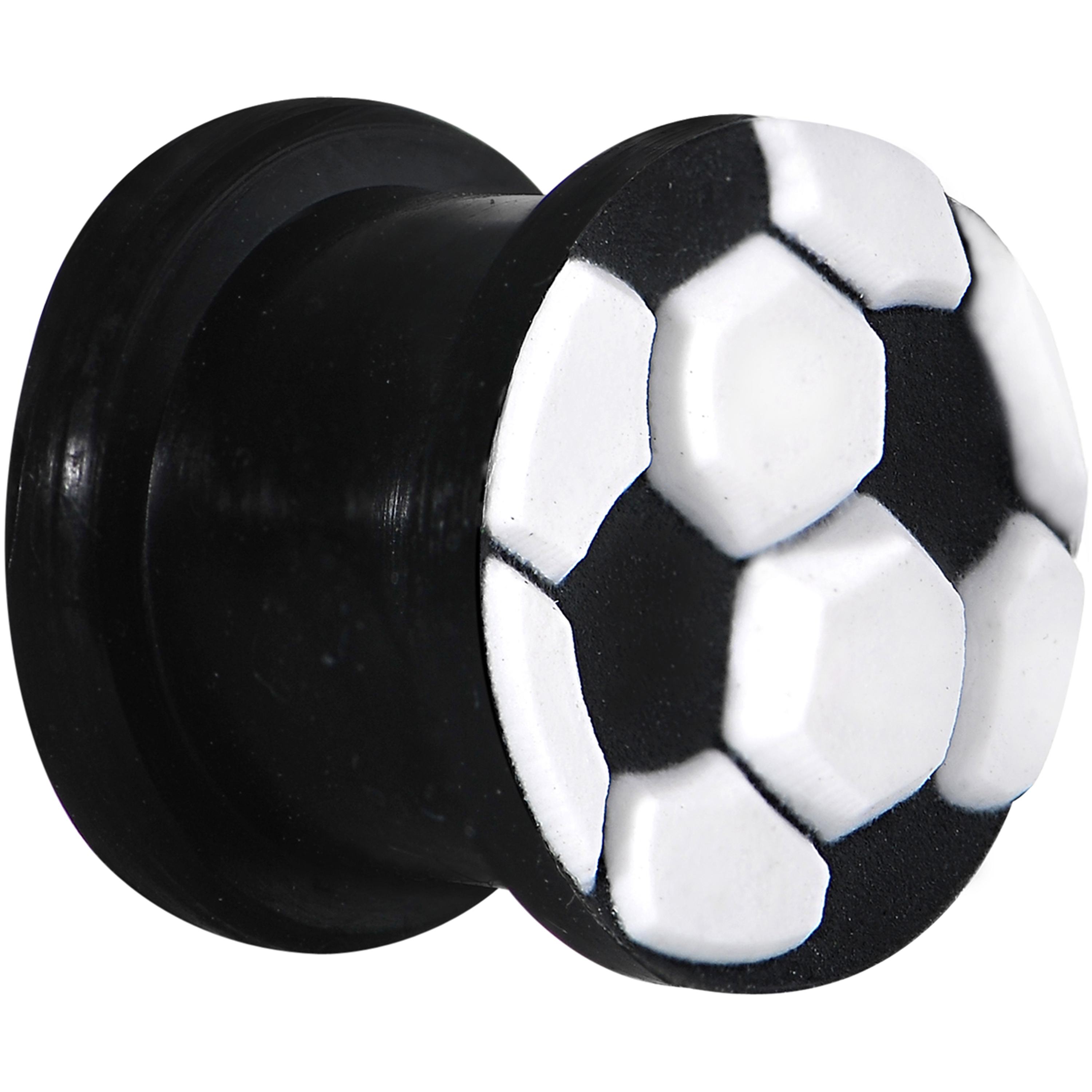 "1/2"" Silicone Black and White Soccer Ball Saddle Plug (1 Piece)"
