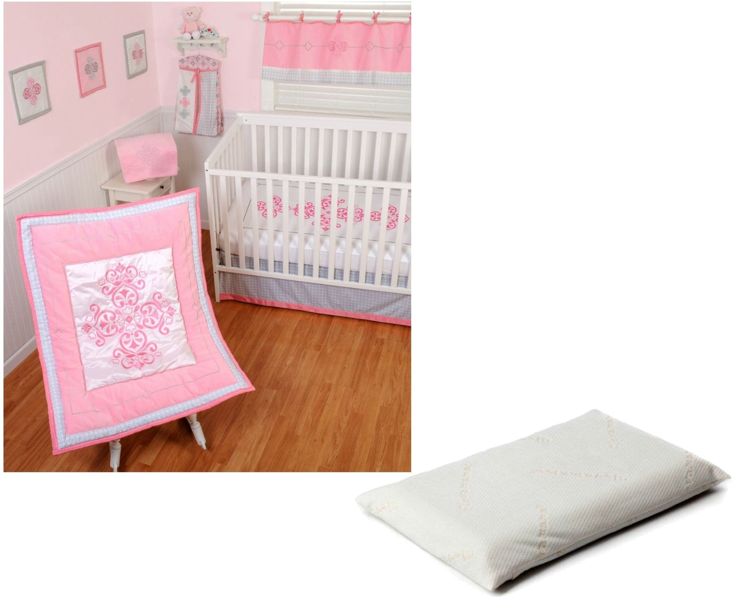 Sumersault Princess Crib Bedding 4 Piece Set with ClevaFoam Baby Pillow by Sumersault
