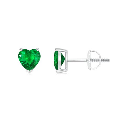 Mother's Day Jewelry Sale - Emerald Solitaire Heart Stud Earrings in 14K White Gold (5mm Emerald) - SE0255E-WG-AAA-5