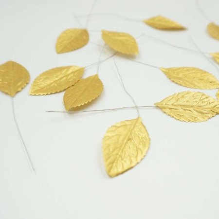 """36 Synthetic 2"""" Metallic Gold Leaf Rose Leaves"""