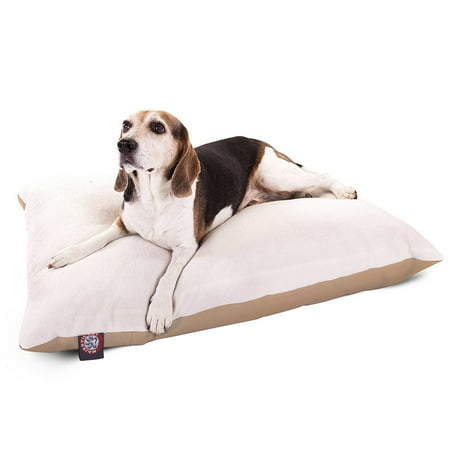 Majestic Pet Solid Color Rectangular Pillow Dog Bed Machine Washable Khaki Medium 30u0022 x 40u0022 x 8u0022