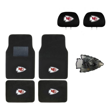 - Kansas City Chiefs 4 Pc Carpet Floor Mats And Head Rest Cover With Chrome Decal