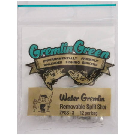 (Water Gremlin's Green/Tin Removable Split Shot Sinker, ZPSS-3, 12 Pieces Per Pouch)
