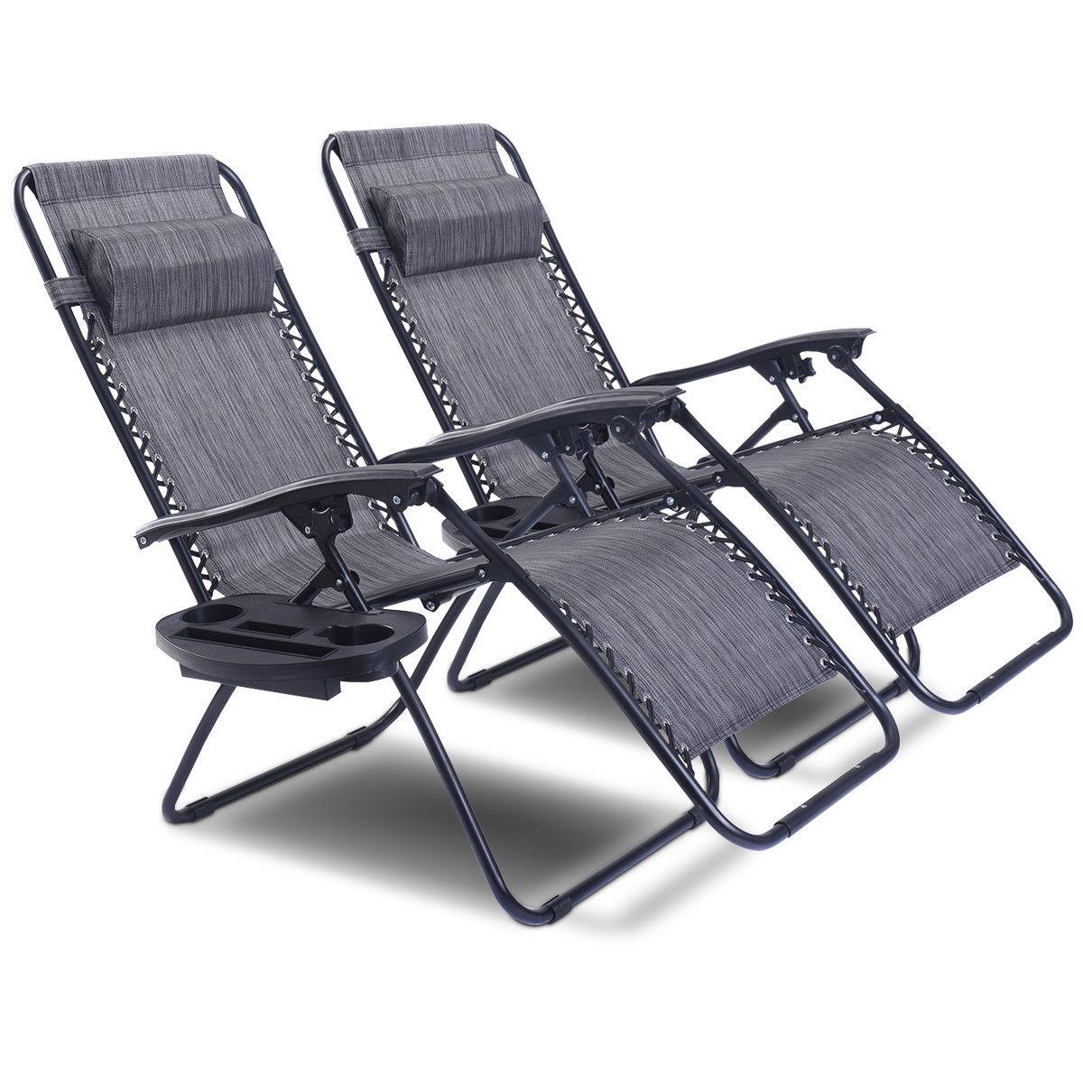 2PC Folding Zero Gravity Reclining Lounge Chairs Beach Patio W/ Utility Tray - image 1 of 8