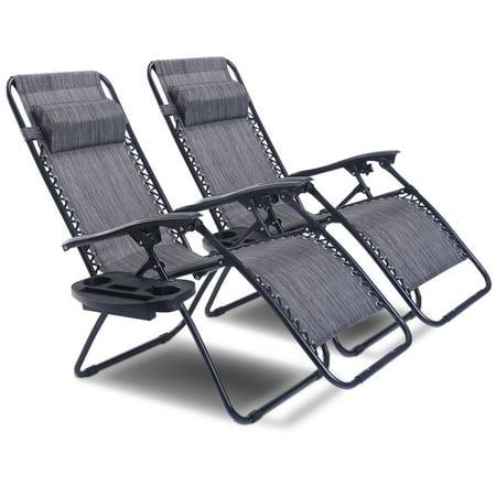 2pc Folding Zero Gravity Reclining Lounge Chairs Beach Patio W Utility Tray Image 1