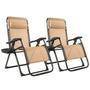 2PC Zero Gravity Chair Oversize Lounge Patio Heavy Duty Folding Recliner Beige