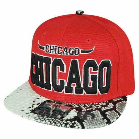 Chicago Red Snake Skin White Flat Bill Snapback Hat Cap Chi Town City Bull Horns (Chicago Bulls Snapback)