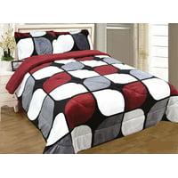 3 Piece Burgundy Black White Flannel Sherpa Blanket King Size 7 lbs