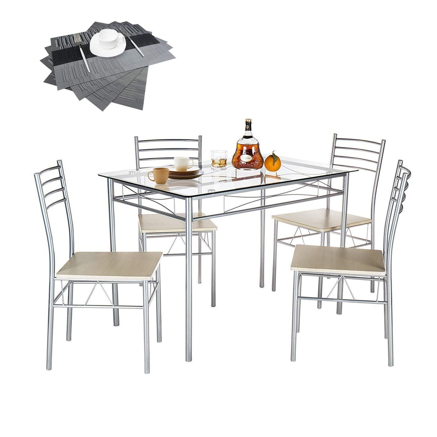 Vecelo Dining Set for 4 Rectangular Counter Height Table Glass Top with 4 Chairs Metal Silver