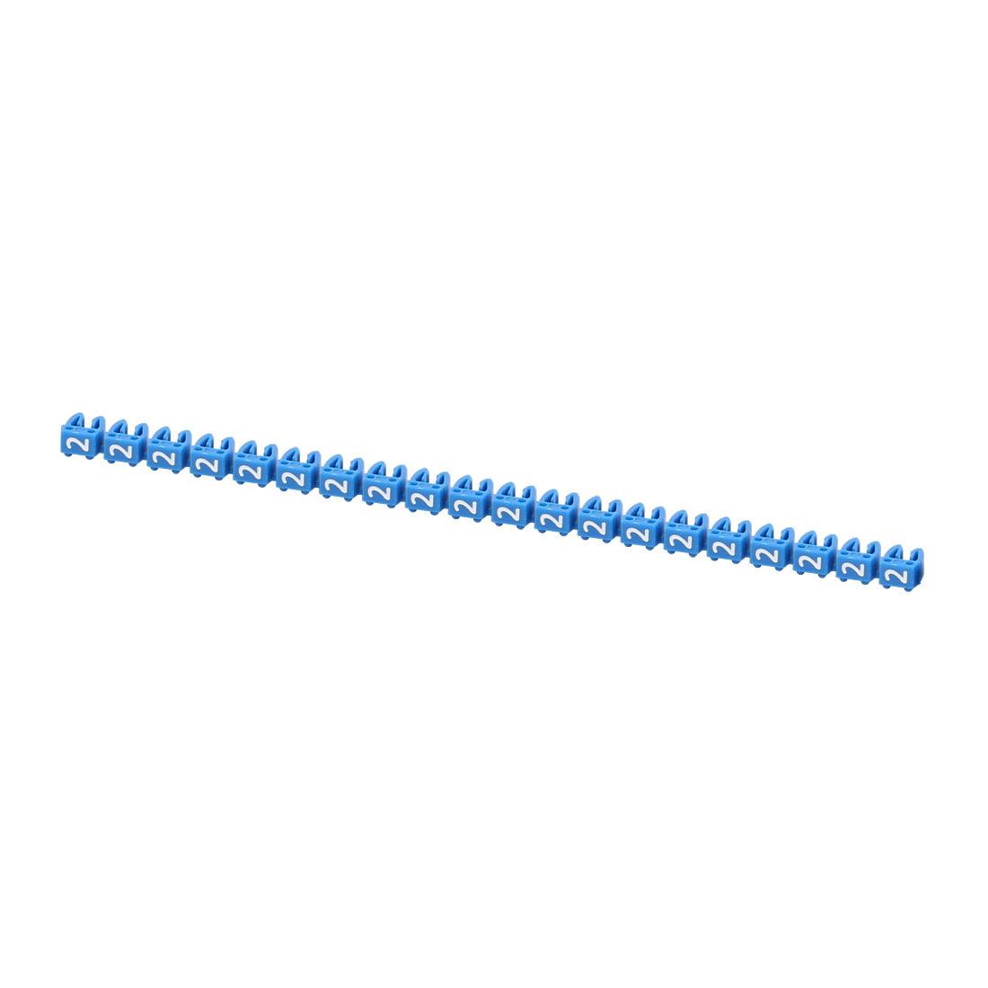 "20Pcs Letters ""2"" Network Cable Labels Markers Blue for 3.0-4.0mm Dia Wire - image 3 de 3"