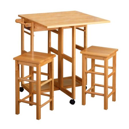 UBesGoo Wood Kitchen Rolling Casters With 2 Stools 2 Drawers Fold Dining -