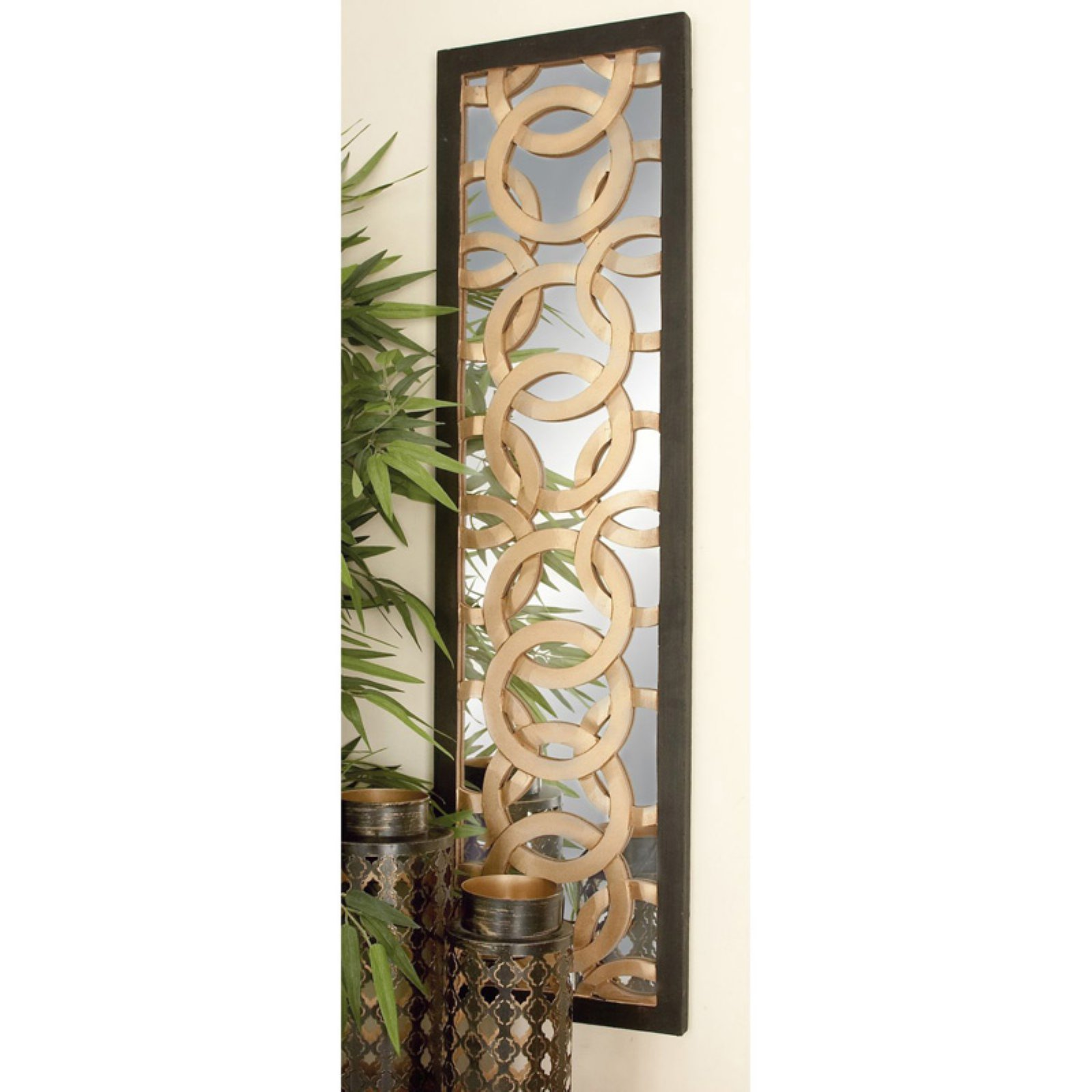 DecMode 12W x 44H in. (Each) Linked Circle Design Wood over Mirror Wall Panel - Set of 2