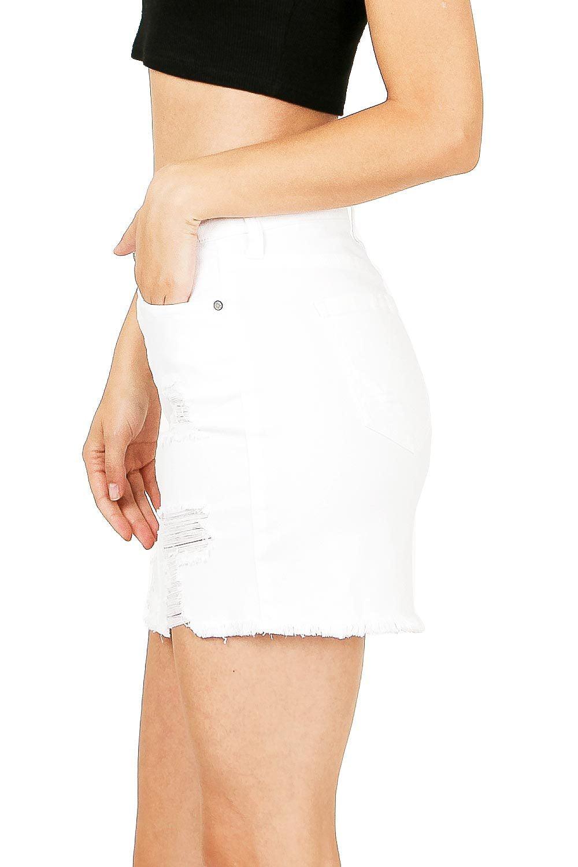 47f659b6d0b2 Stretchy Distressed Denim Skirt - raveitsafe