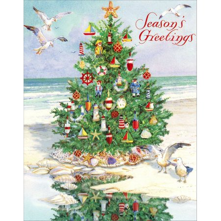 Red Farm Studios Tree on Beach Nautical Christmas Card ()