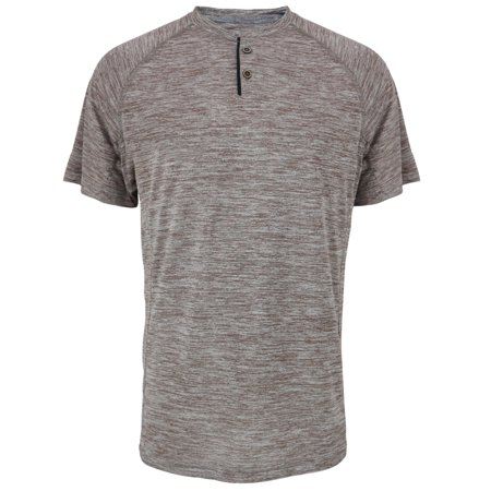 Rocker Henley - Men's Active Moisture-Wicking Sport Tech Marble Performance Henley T-Shirt