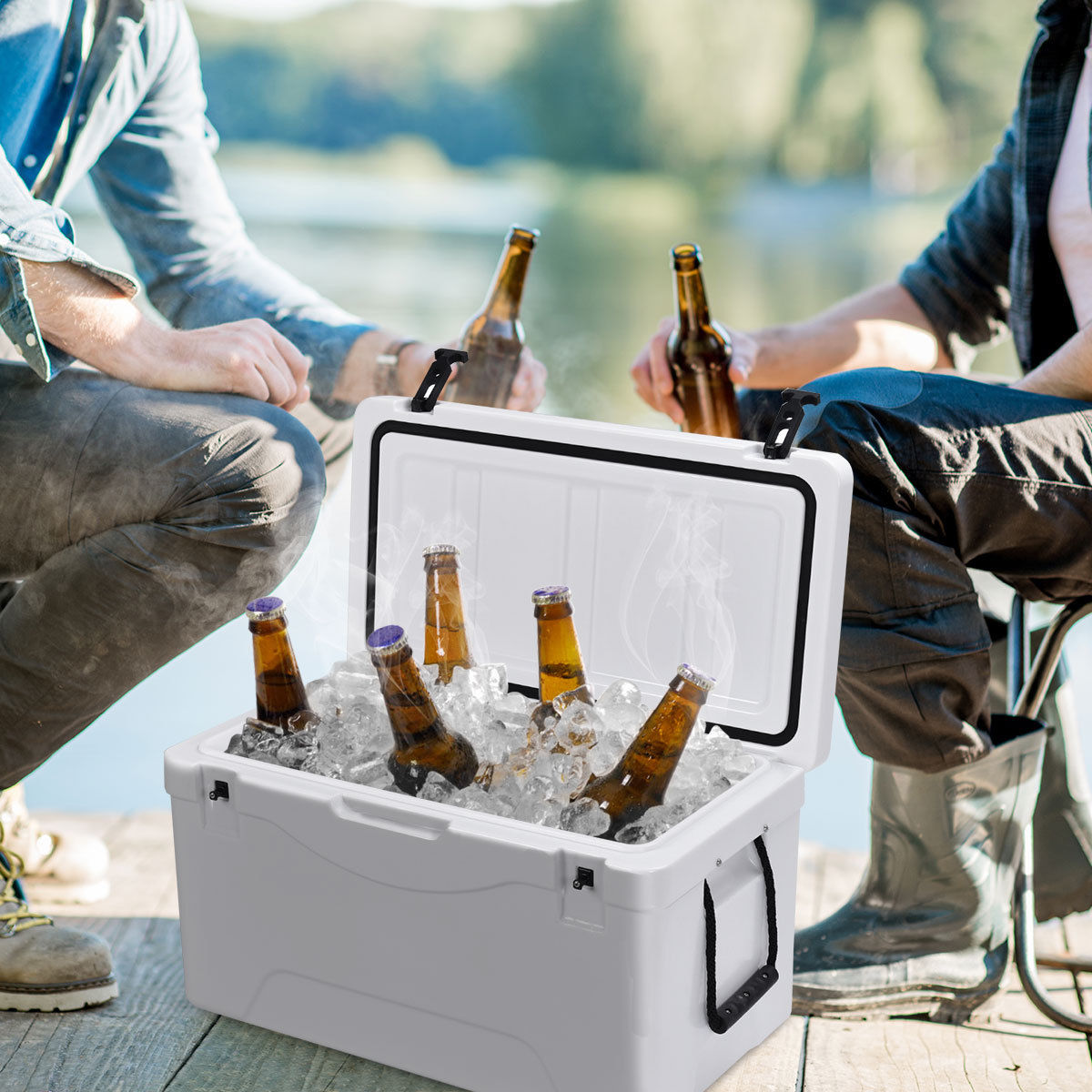 Heavy Duty Outdoor Insulated Fishing Hunting Cooler Ice Chest 64 Quart White - image 9 de 10