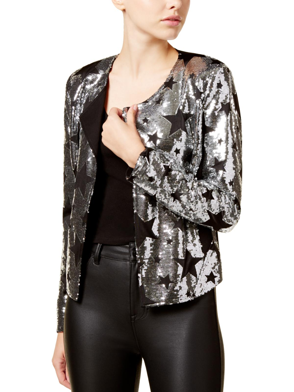 XOXO Womens Juniors Sequined Long Sleeves Open-Front Blazer