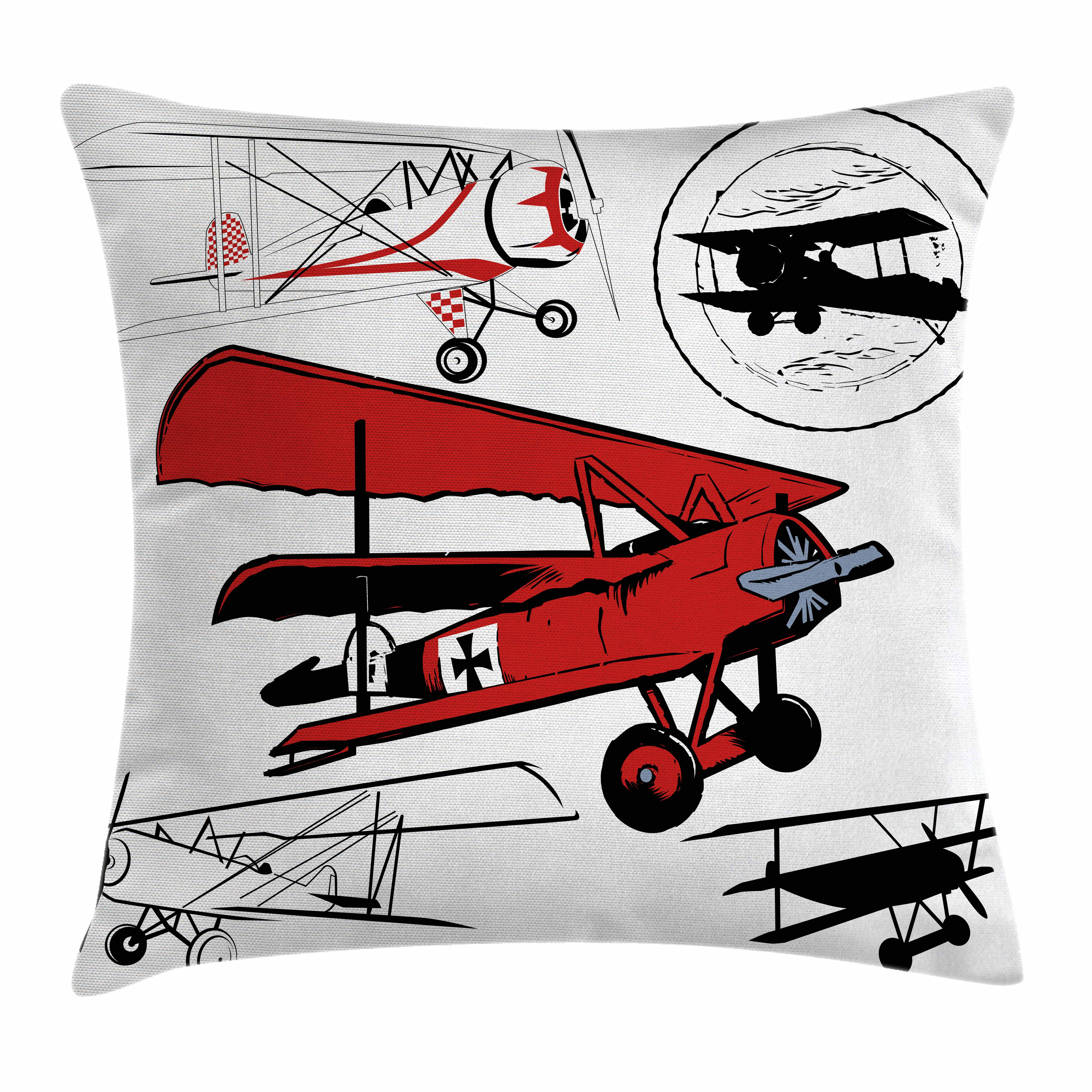 Vintage Airplane Decor Throw Pillow Cushion Cover, Collection of Various Biplanes Nostalgic Antique Silhouettes, Decorative Square Accent Pillow Case, 20 X 20 Inches, Red White Black, by Ambesonne