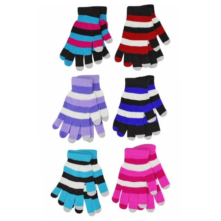 - Multicolor Stripe Stretchy 6 Pack Womens Texting Gloves