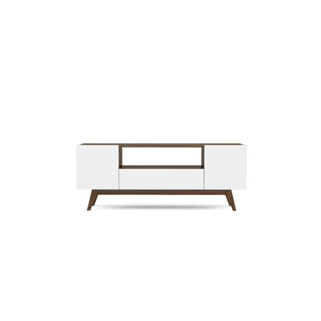 60 Inch Walnut - Polifurniture USA 59 inch Modern TV Stand, White and Walnut