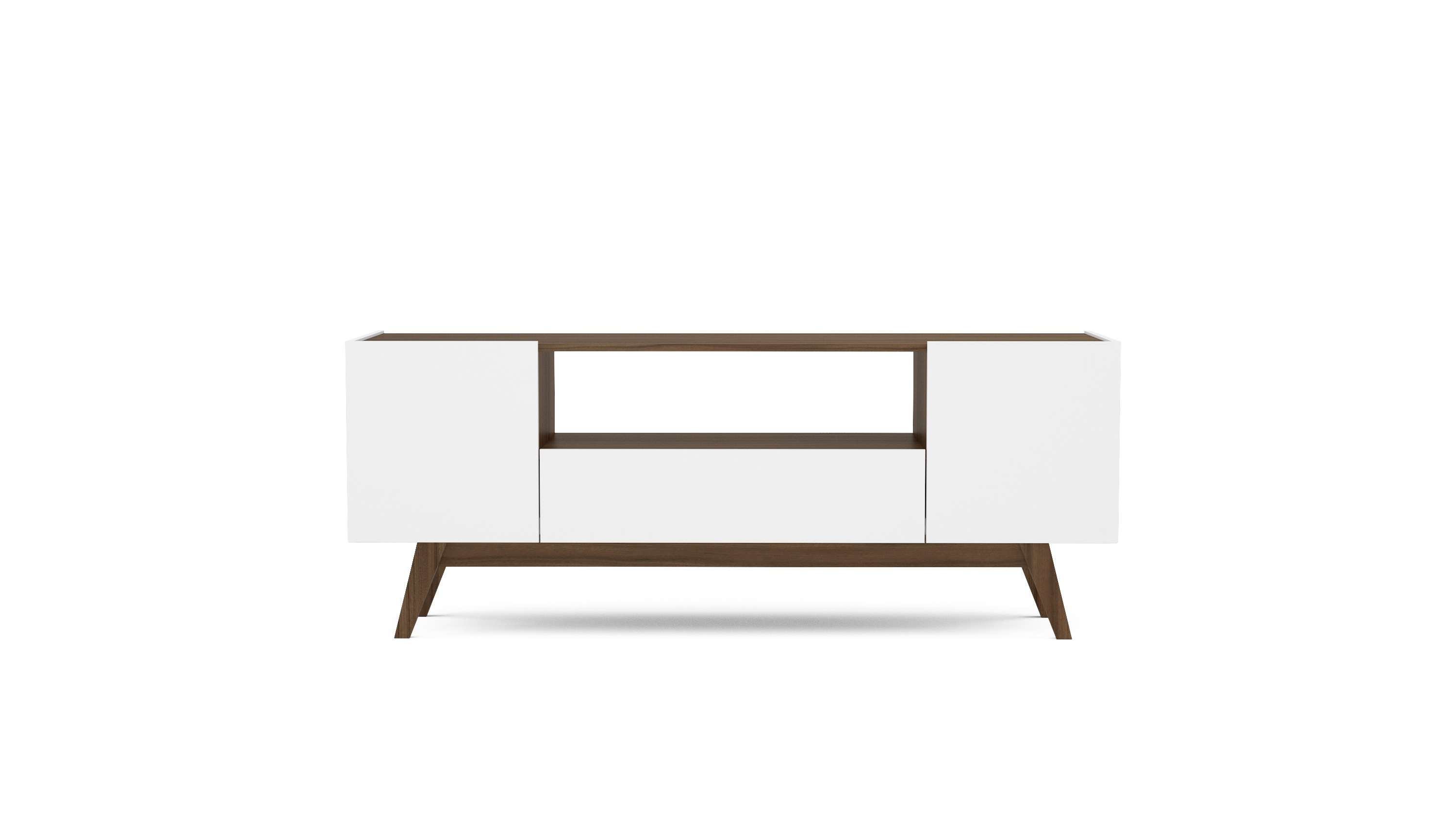 Polifurniture USA 59 Inch Modern TV Stand, White And Walnut