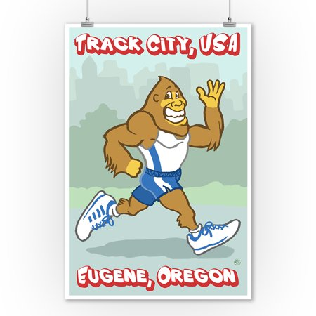 Bigfoot Jogging - Track City - Eugene, OR - Lantern Press Original Poster (9x12 Art Print, Wall Decor Travel Poster)
