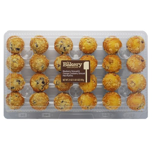 The Bakery at Walmart Blueberry Streusel & Orange Cranberry Streusel Mini Muffins, 24 count, 21 oz