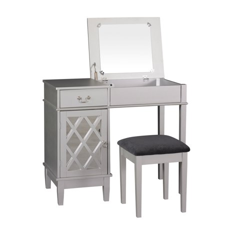 Linon Lattice Bedroom Vanity Set including Stool and Flip top Mirror ...