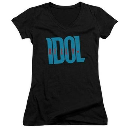 Billy Idol-Logo Junior V-Neck Tee, Black - Large - image 1 of 1