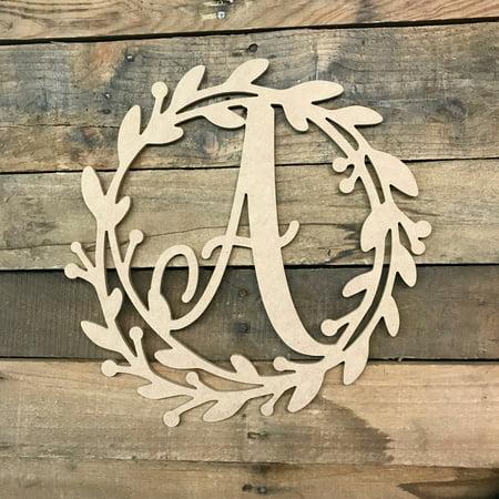 Wooden Cursive Wreath Frame Monogram 12'' A, Wood Letter Cutout