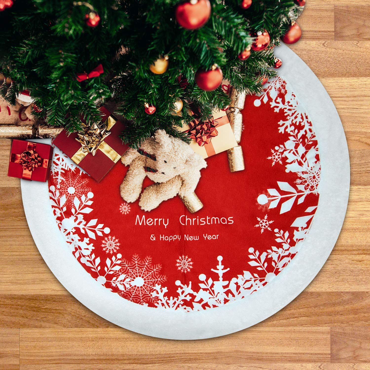 Peroptimist 48 Inches Red Plush Christmas Tree Skirt Red and White Tree Skirt Mat Ornament with Printed Snowflakes Xmas Blessing Word for Christmas