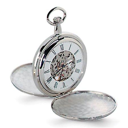 Charles Hubert Pocket Watch (Lex & Lu Charles Hubert Chrome-finish White Dial Pocket Watch XWA1034)