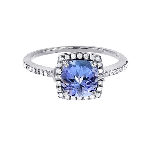 10K White Gold 7mm Cushion Tanzanite & 0.20 CTTW Diamond Halo Ring
