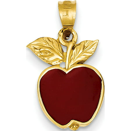 Leslies Fine Jewelry Designer 14k Yellow Gold Polished Red Enameled Apple (10x20mm) Pendant (Yellow Gold Enameled Apple)
