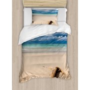 Driftwood Decor Twin Size Duvet Cover Set, Sea Theme Driftwood on the Sandy Beach and Cloudy Sky Digital Print, Decorative 2 Piece Bedding Set with 1 Pillow Sham, Sand Brown Blue, by Ambesonne