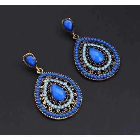 ON SALE - Dark Blue Bead and Crystal Filigree Drop Earrings Blue
