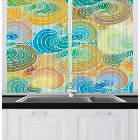 Abstract Curtains 2 Panels Set, Op Art Inspired Amorph Figures in Gradient Funky Colors Psychedelic Wavy Pattern, Window Drapes for Living Room Bedroom, 55W X 39L Inches, Multicolor, by