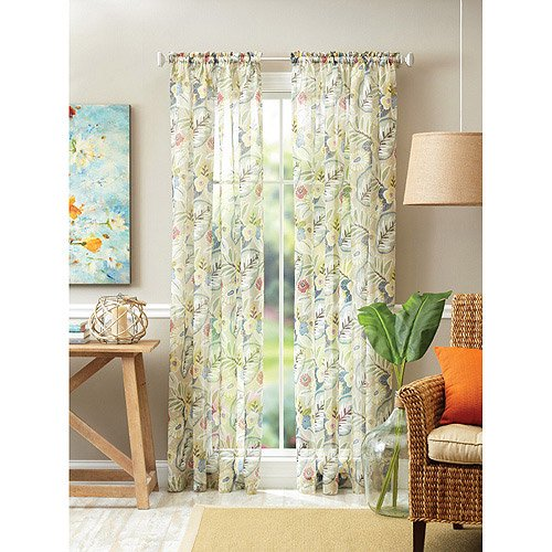 Better Homes And Gardens Kitchen Curtains: Better Homes And Gardens Tropical Floral Semi-Sheer
