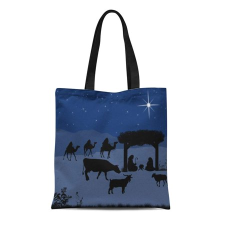ASHLEIGH Canvas Bag Resuable Tote Grocery Shopping Bags Christmas Nativity Scene Baby in the Manger Mary and Joseph Silhouettes Tote Bag](Manger Silhouette)