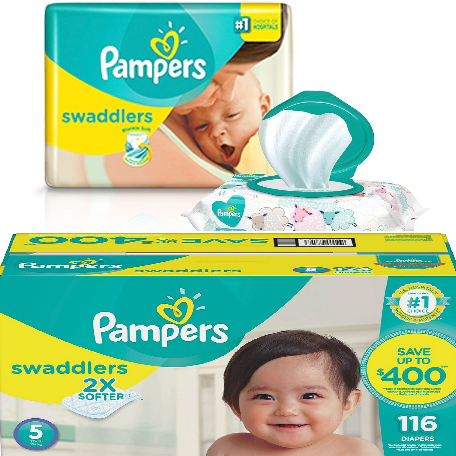 Pampers' Swaddlers Diapers size: 5 -116 ct. (27+ lb.) by Branded Diapers