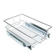 WALFRONT Under Shelf Storage Basket Pull Out Sliding Metal Basket Drawer Storage Cabinet