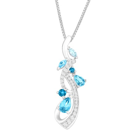 1 1/3 ct Natural Blue & White Topaz Vine Pendant Necklace in Sterling - Blue Topaz Diamond Necklace